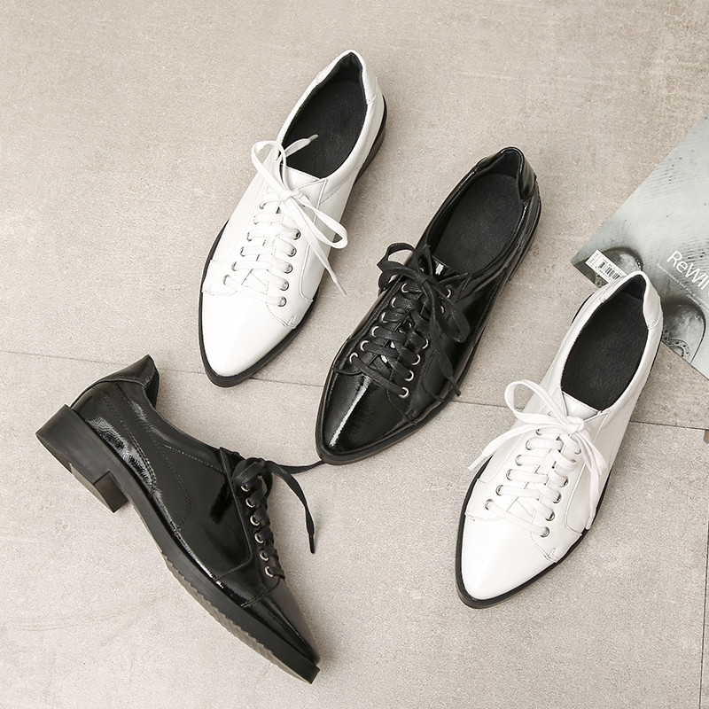 Cuir Pointu Pu Oxfords De Haute Black white Plats Style Printemps Britannique En Verni Femmes Talons Femelle DentelleUp Cru Bout Chaussures Qualité YbWDH92eEI