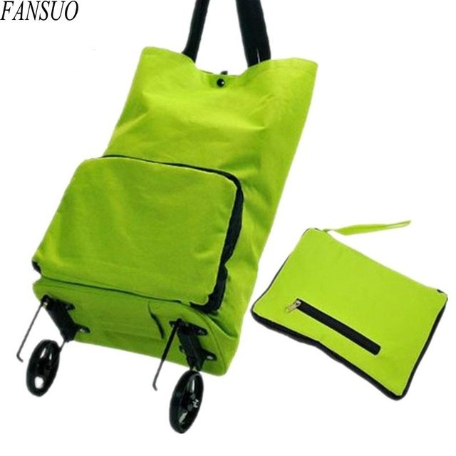 Environmental Foldable Shopping Bag Women Fashion Multifunction Shopping Cart Tug Trolley Case Wheels Reusable Shopping Bag