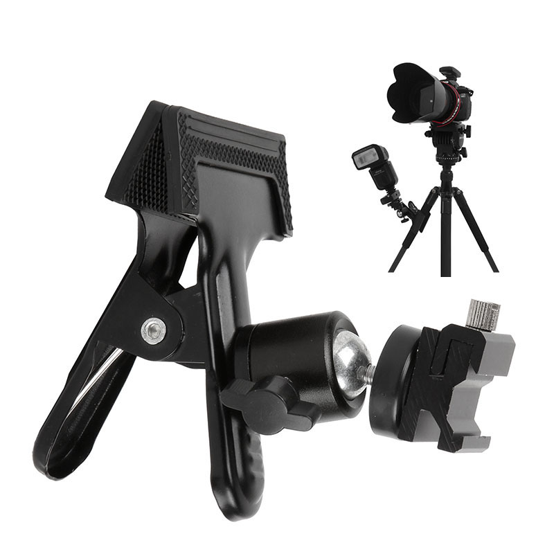 Photo Studio Photography Backdrop Clamp Tripod Ball Head + Hot Shoe Adapter Flash Light Stand for 580EX II 600EX SB800 SB910