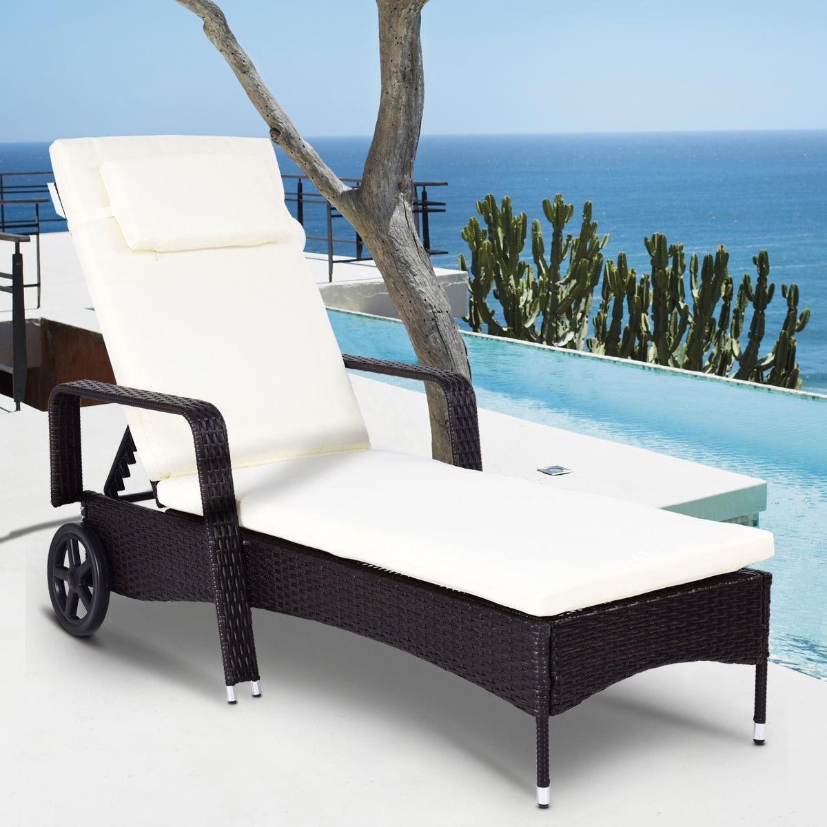 - Outdoor Recliner Cushioned Chaise Lounge W/ Adjustable Wheels