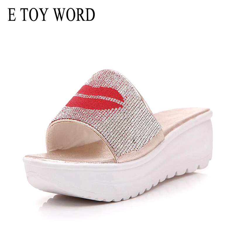 E TOY WORD Fashion 2018 Summer New Womens Shoes Anti-skid Thick-bottomed Rhinestone platform Womens Slippers