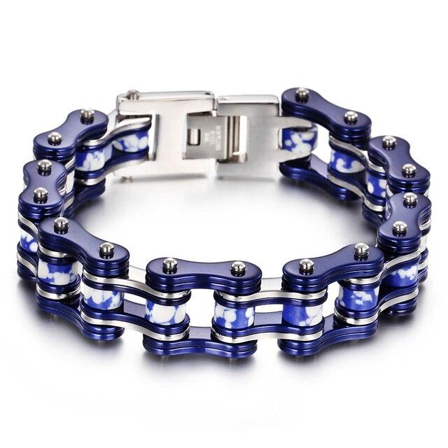 date de sortie c25cf d2dee € 22.84 12% de réduction|Roman et belle acier inoxydable bleu argent grande  moto chaîne Bracelet Biker bijoux Bracelet père cadeaux 18mm 8.66'' dans ...