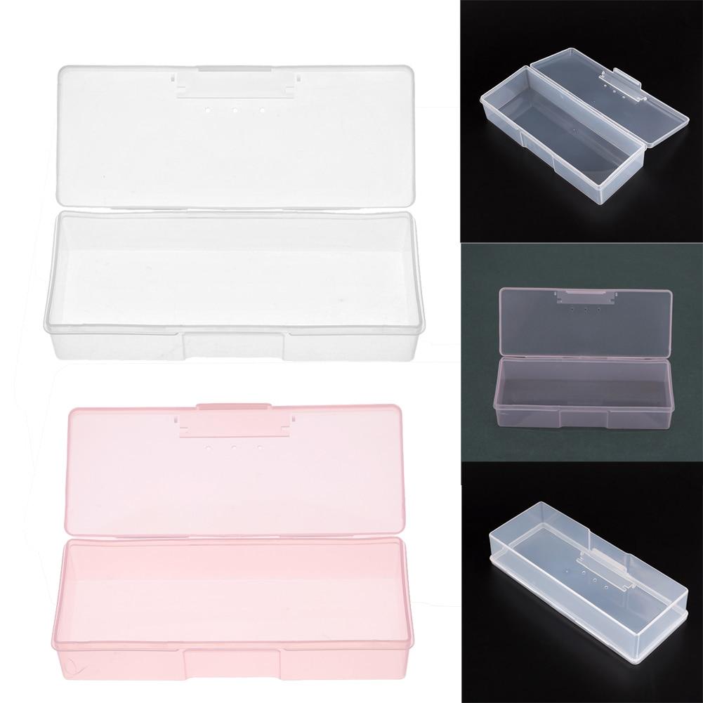 Plastic Transparent Nail Tools Storage Box Nail Rhinestone Decorations Buffer Files Grinding Organizer Case Box 193x80x39mm