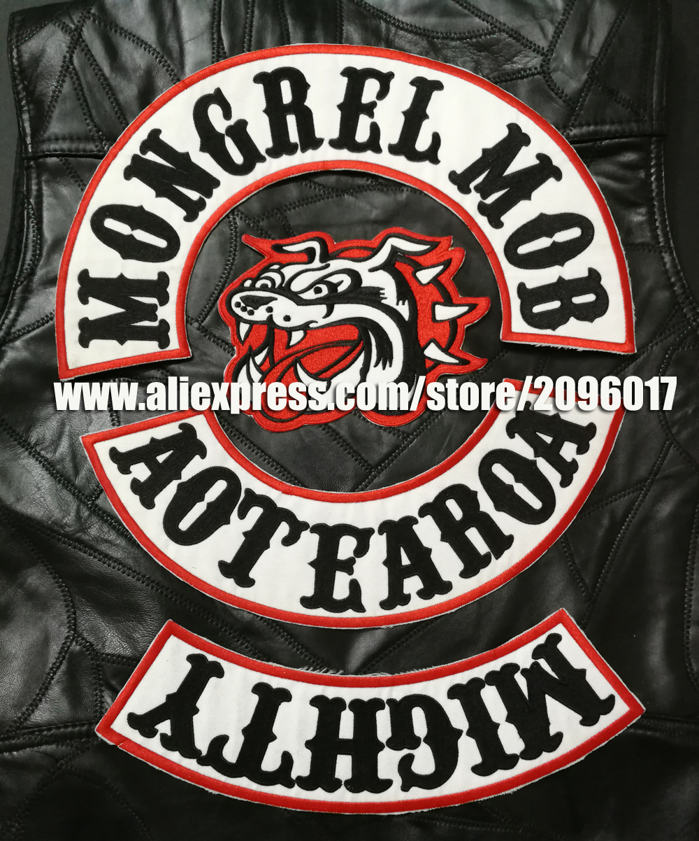 New Arrived 4pcs set Motor Patches MOB Patches for the Mongrel MOB Motorcycle Club Jacekt Vest