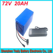 Free customs duty high quality 1000 time cycles 72v 2500w electric scooter batteries 72v 20ah battery pack with 40A BMS charger