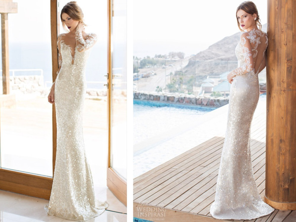 Scoop Long Sleeves Backless Sheath Floor-Length Lace Appliques Beading 2018 Brides Sequined Vestido Mother Of The Bride Dresses