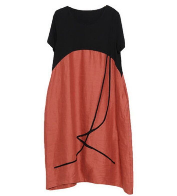 Summer Korean Fashion Casual Female Loose Hit Color Short Sleeves O-neck Cotton Dress Black And Orange Black And Gray Large Size