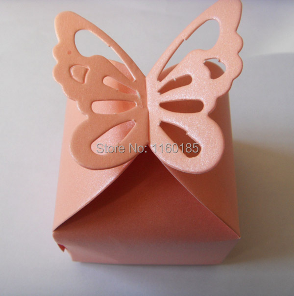 Free Shipping 100 Pcs Pink Erfly Candy Bo Baby Shower Favor Box Favour Gift Paper