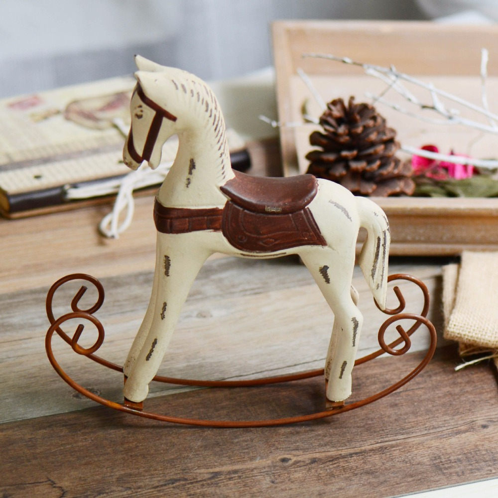 Home Decor Crafts Gifts: American Style Wood Horse Nordic Creative Retro White