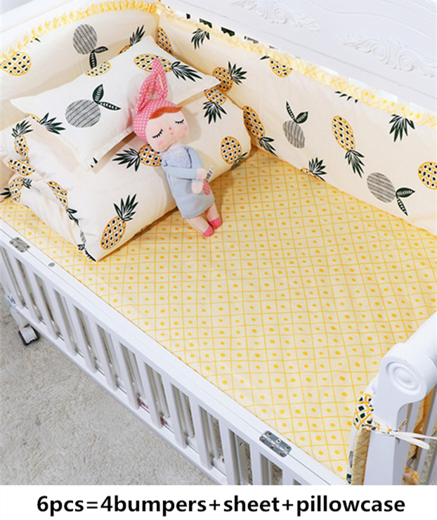Promotion! 6PCS pineapple Cotton Baby Nursery Cot Crib Bedding Set Crib Bumper for Girls and Boys (4bumpers+sheet+pillow cover)