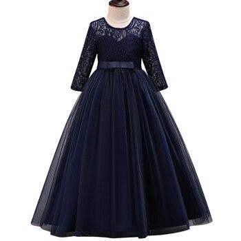 Nouveau élégant 2017 mode robes de fête de noël pour les filles fleur demi manches dentelle Patchwork fête de mariage robes de princesse