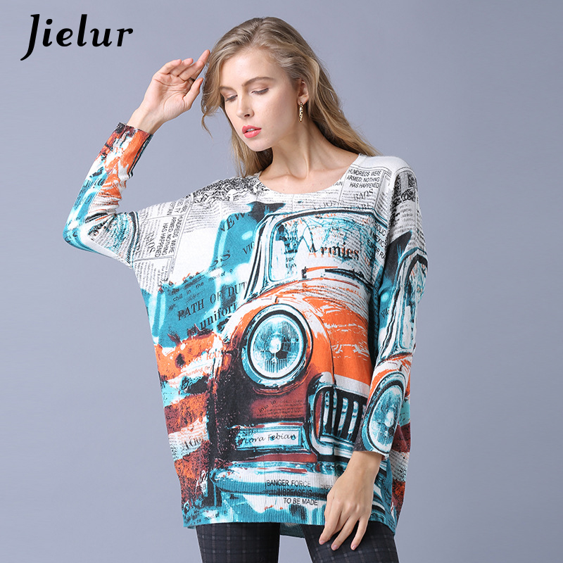 Jielur Harajuku Spring Winter Sweater Women Top Classic Cars Print Knitted Sweater 2019 Casual Fashion Pullover For Women Jumper