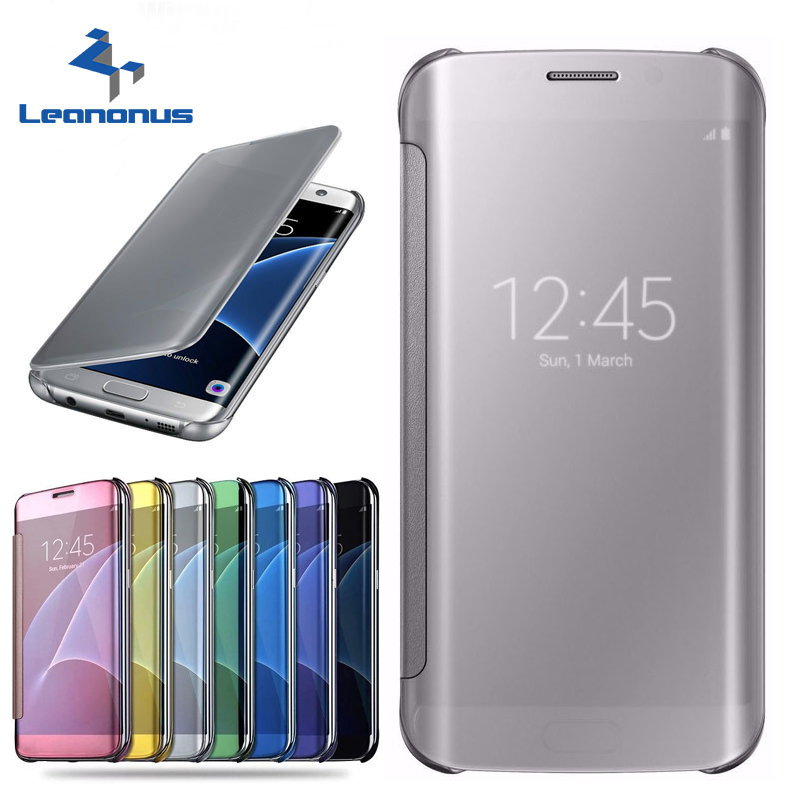 Leanonus Smart Clear Surface View <font><b>Flip</b></font> Cover <font><b>Case</b></font> for <font><b>Samsung</b></font> Galaxy J330 J530 J730 J3 J5 <font><b>J7</b></font> <font><b>2017</b></font> EU Version Note8 S8 Plus S7 S6 image