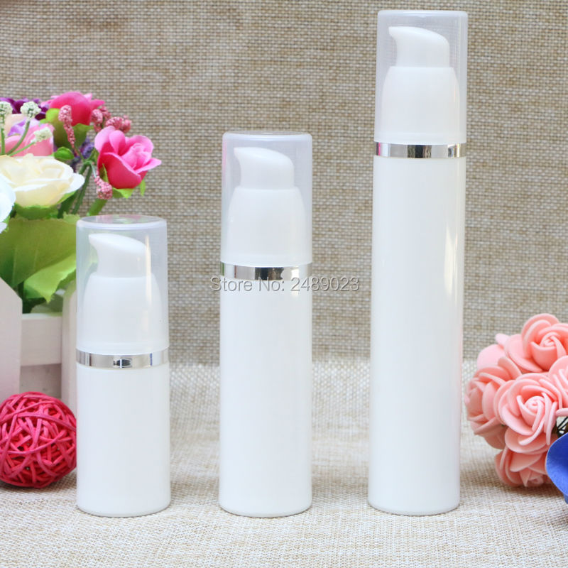 Make Up Tools Silver Line Airless Bottle With Transparent Cap Empty Plastic Refillable Bottles Cosmetic Containers