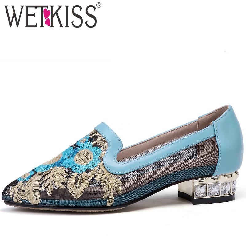 WETKISS Shoes Female Crystal Pumps Women Pointed-Toe Woman Summer Footwear Appliques-Mesh