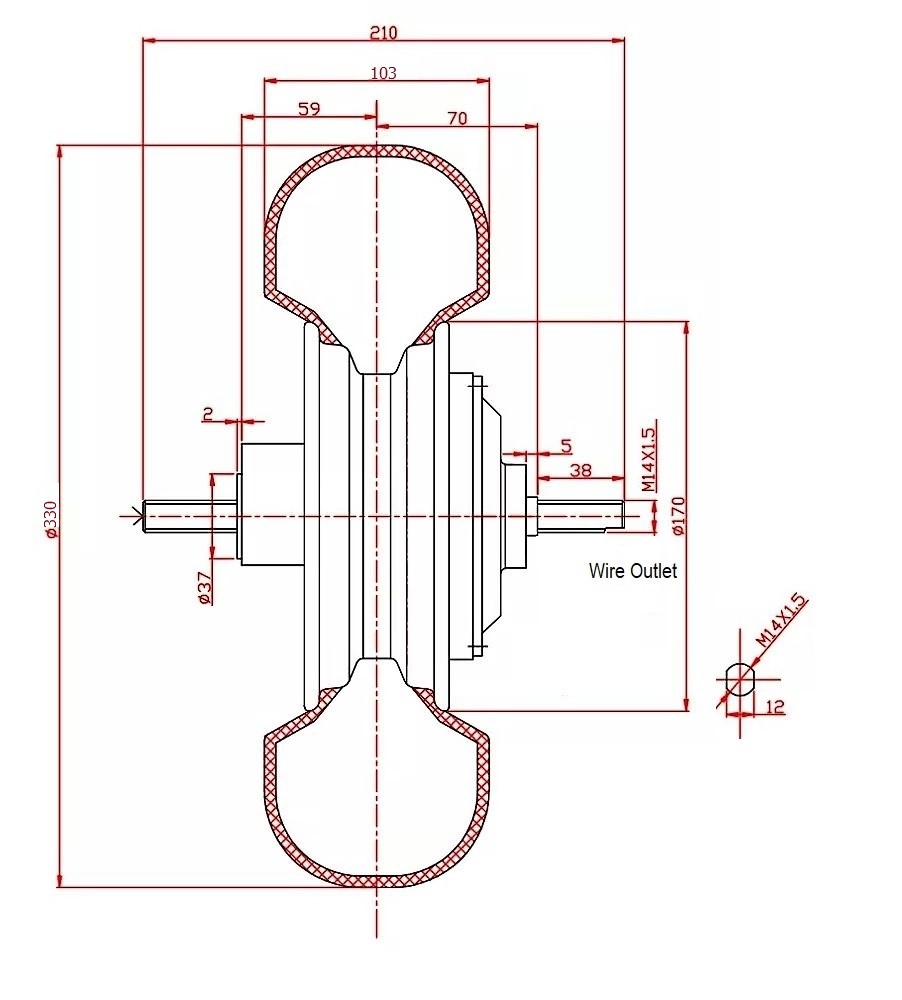 Drawing of 13 inch hub motor off-road