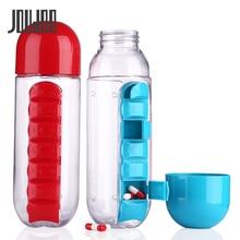 JOUDOO 600 мл 2 в 1 пластиковая бутылка для воды комбинированная Повседневная аптечка Органайзер Герметичная Бутылка для питья стаканы для отдыха на воздухе 35