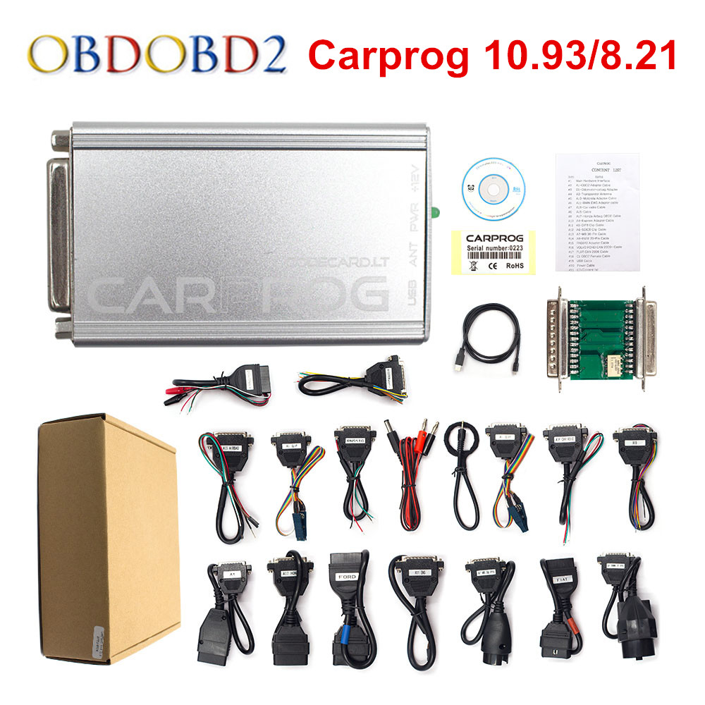 CARPROG V10.0.5 / V8.21 Programmer Auto Repair Airbag Reset Tools Car Prog 10.93 ECU Chip Tuning Full 21 Adapters Free Ship free shipping carprog 9 31 ecu chip tunning car prog v9 31 carprog full newest version with all 21 items adapters
