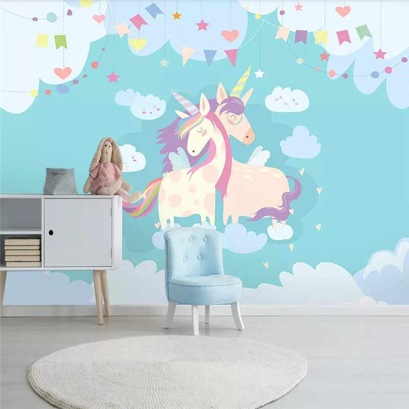 Wallpaper Kustom Nordic Sederhana Kartun Lucu Hewan Unicorn Anak Kamar Latar Belakang Dinding Lukisan Bahan Tahan Air Wallpaper Aliexpress
