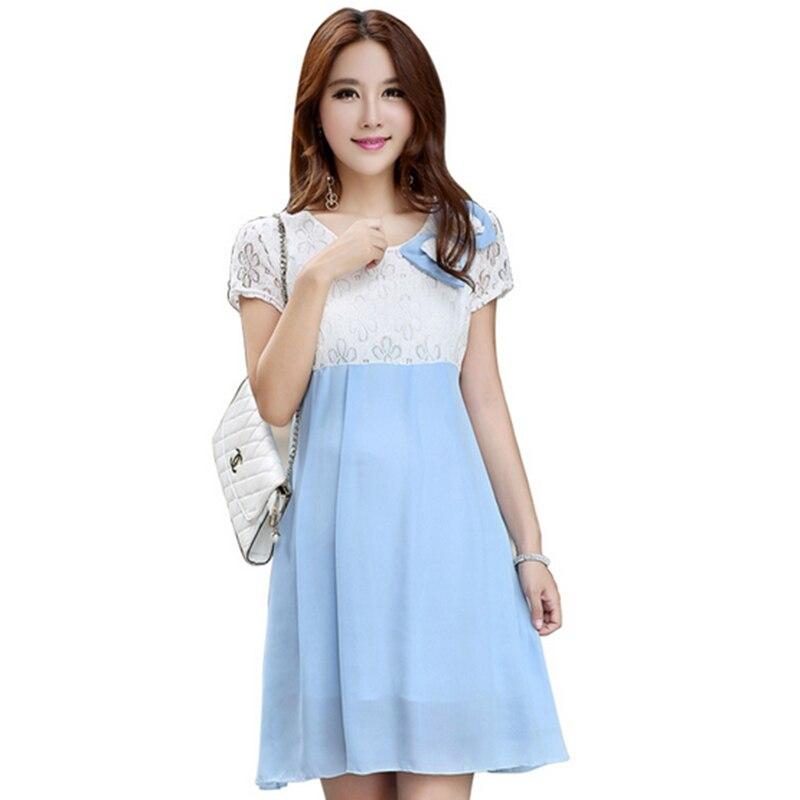 Free Size Maternity Clothes Bud Silk Maternity Dresses Pregnant Nursing Dress Pregnancy Bow Clothing GH007