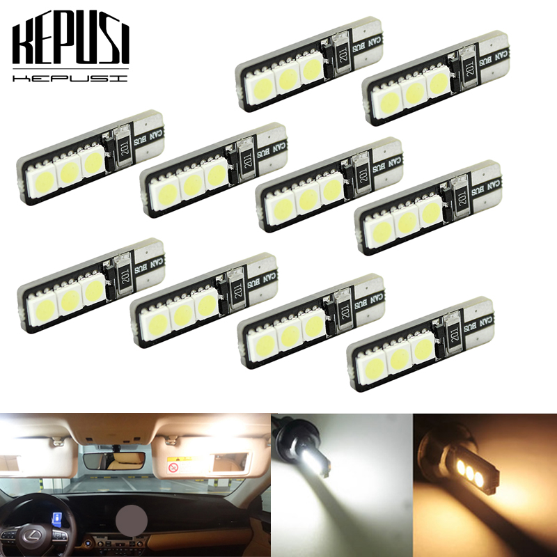 10pcs/lot Bright Double No Error T10 LED 194 168 W5W Canbus 6 SMD 5050 LED Car Interior Bulbs Light Parking Width Lamps