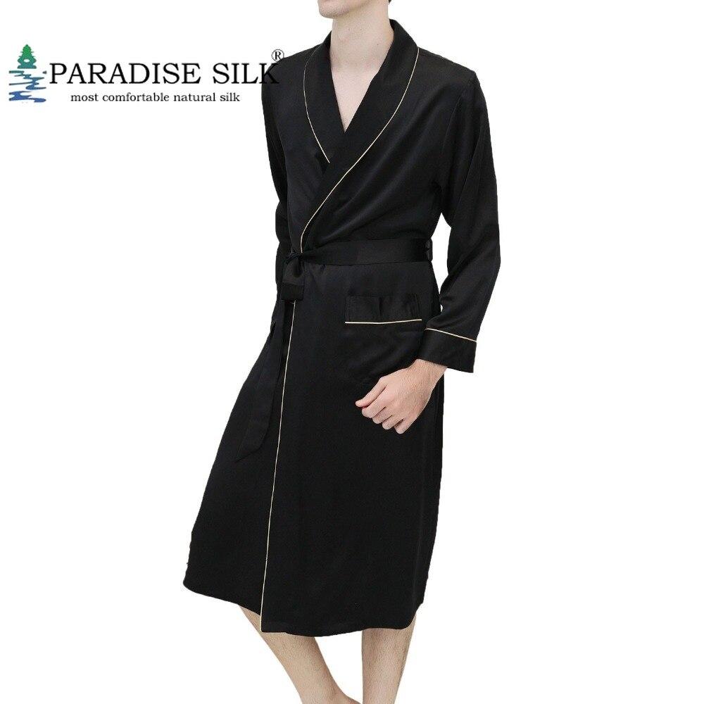 Mens Silk Robe 100% 19MM Silk Couple's Robe For Men Long-sleeved Bathrobe Sleepwear Nightgown Size S M L XL XXL