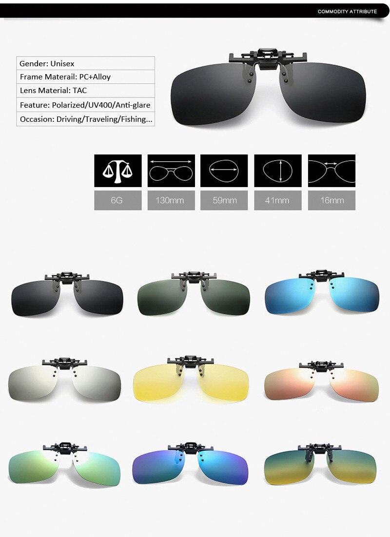 9c57f1c401 Clip polarizado de forma clásica en gafas de sol de conducción ...