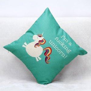 Image 4 - Funda de cojín de unicornio CAMMITEVER funda de almohada decorativa para el hogar funda de cojín de lino sofá funda de almohada de dibujos animados