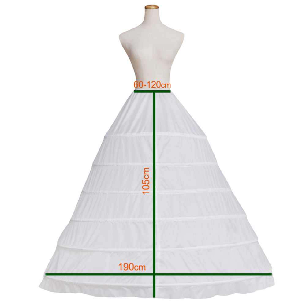 Ball Gown Crinoline Panniers Bride Wedding Dress White 6 Hoops 65-120cm/ 25.5''-47.2'' Big Large Size Petticoat Slip Undetskirt