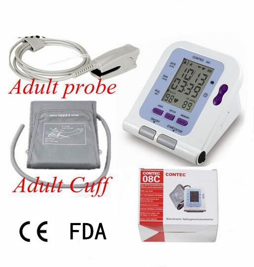 New Digital automatic blood pressure monitor + Adult cuff + probe Contec08C Contec sale