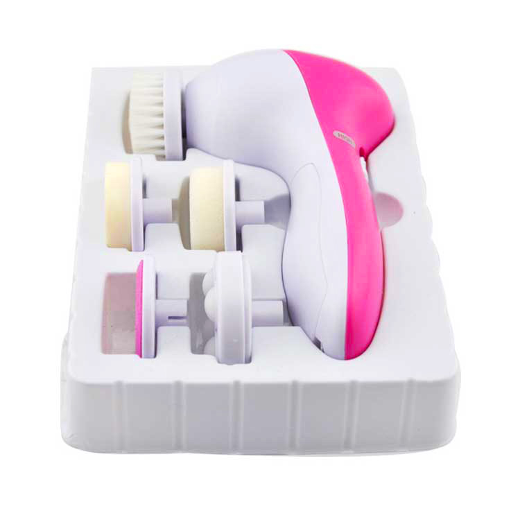 wholesale 5 In 1 Electric Facial Cleaner Face Skin Care Brush 5 in 1 beauty care Massager Facial Cleansing Face Wash Brush electric 3d silicone massage ultrasonic facial cleansing brush beauty instrument pores cleaner face vibration spa usb recharge