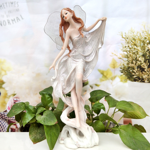 Q Glory White Angel Resin Garden Fairy Angel Figurines House Ornaments  Miniature Garden Flower Beautiful