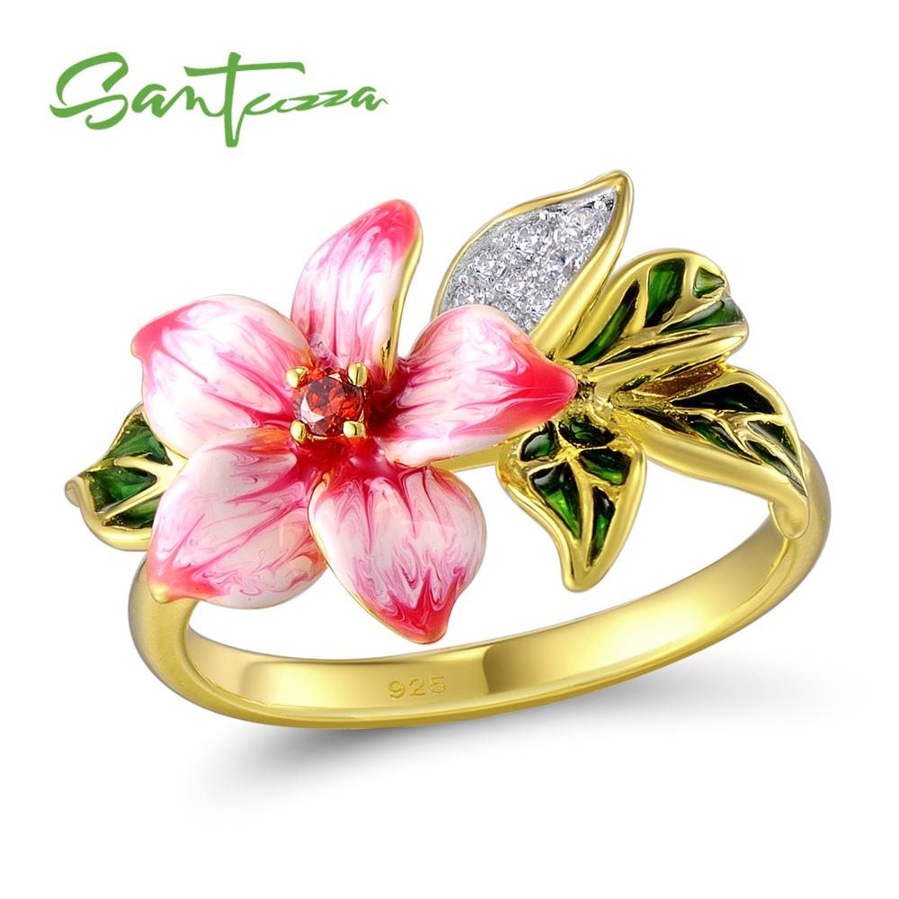 SANTUZZA Silver Ring For Women Authentic 925 Sterling Silver Pink Blooming Flower Charming Fashion Jewelry Handmade EnamelSANTUZZA Silver Ring For Women Authentic 925 Sterling Silver Pink Blooming Flower Charming Fashion Jewelry Handmade Enamel