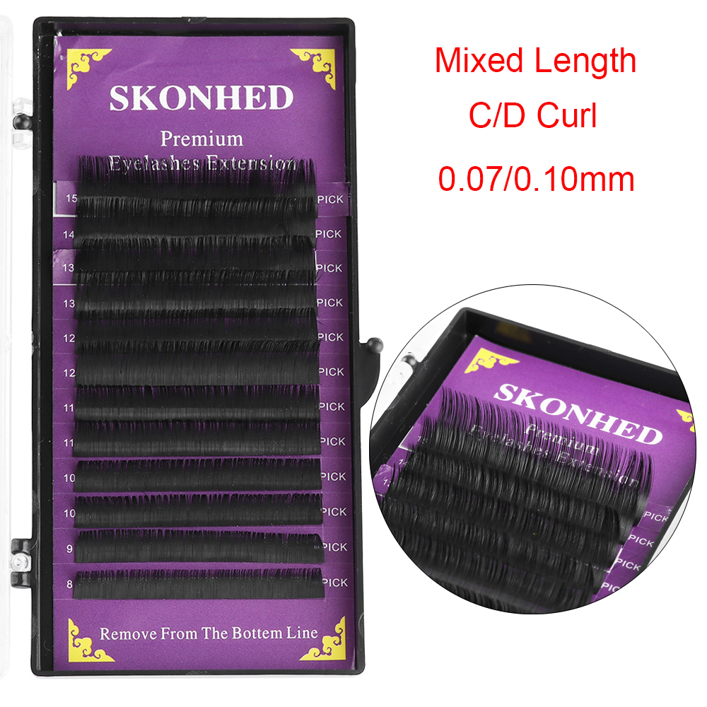 fa8386639a1 1 Box 12 lines Mix Length 8 ~ 15mm Faux Mink Hair Individual Eyelashes  Extension