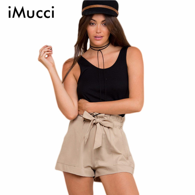 Summer New Fashion Chiffon Shorts Bow High Waist Belt Shorts Solid Color Pocket All Match Casual Women Shorts
