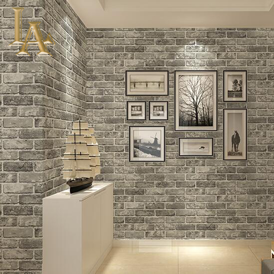 Online get cheap grey brick wallpaper for Papel decorativo pared dormitorio