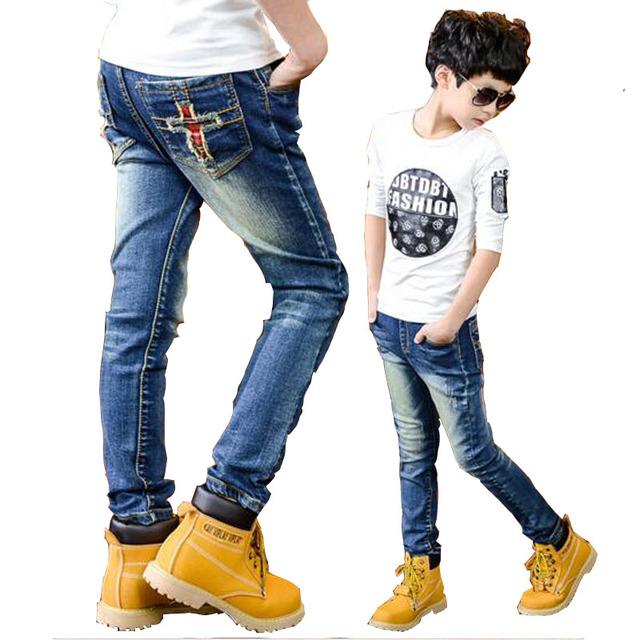 Niños pantalones de mezclilla otoño del resorte negro vaqueros niños pantalones casuales 8 pantalones vaqueros del niño big boy pantalones casuales para 7-15 niños outwear