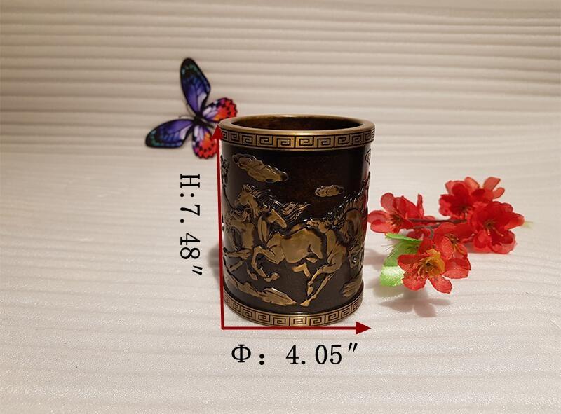 Vintage Chinese style bronze pen holder (4)_