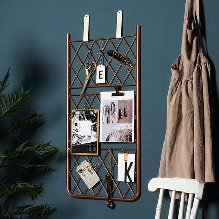 Nordic Wrought Iron Grid Wall Shelf Home Minimalist Creative Decoration Pendant Hanging
