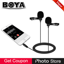 BOYA BY-LM400 Dual Microfone De Lapela para o iphone X 8 7 6 S 6 iPad Plus Pro Mini 4 Android Smartphone Vídeo Entrevista Registro Mic