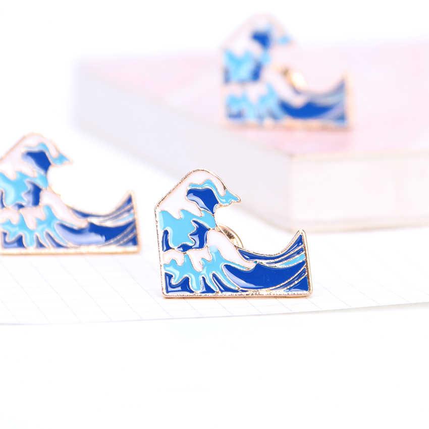 Синие волны брошь металлические броши шпильки джинсовая мода платье пальто аксессуары милые ювелирные изделия сумка значок