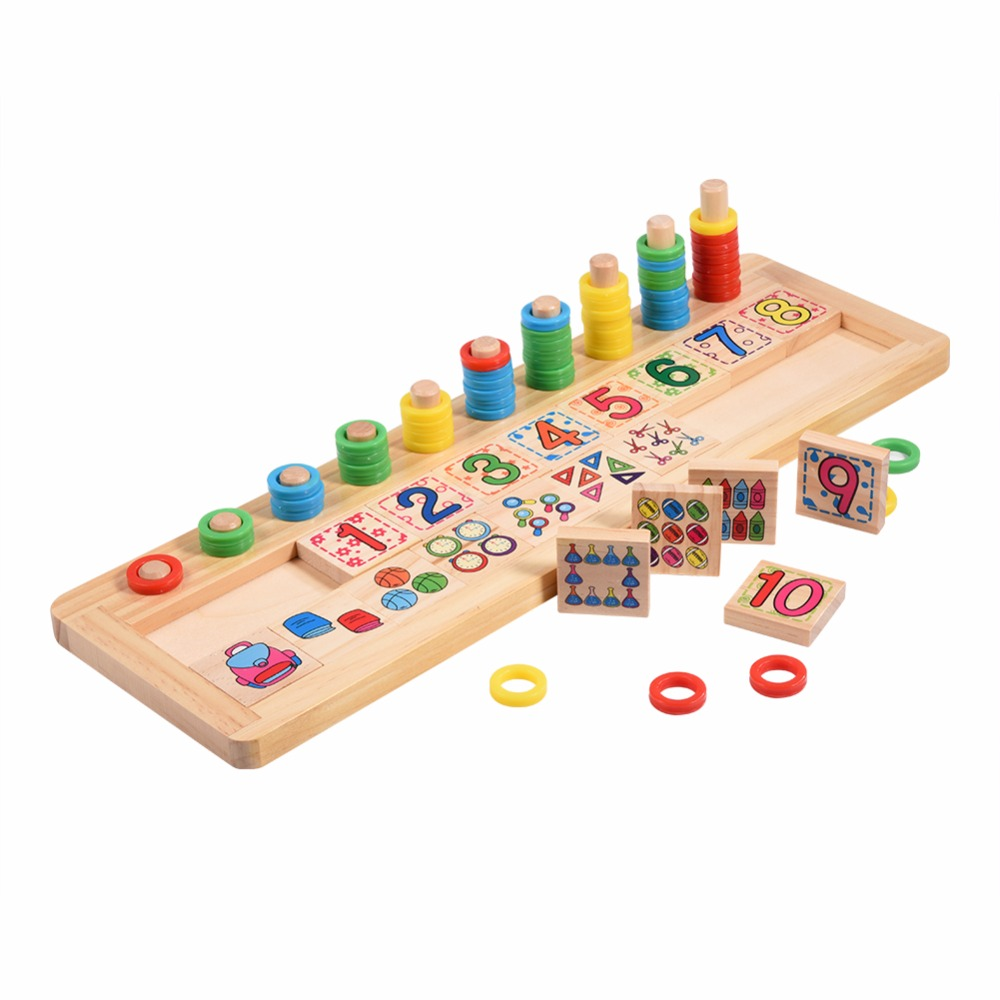 2018 Wooden Educational Math Toys Preschool Baby Teaching Counting Stacking Number Montessori Math Wooden Toys Gift For Children