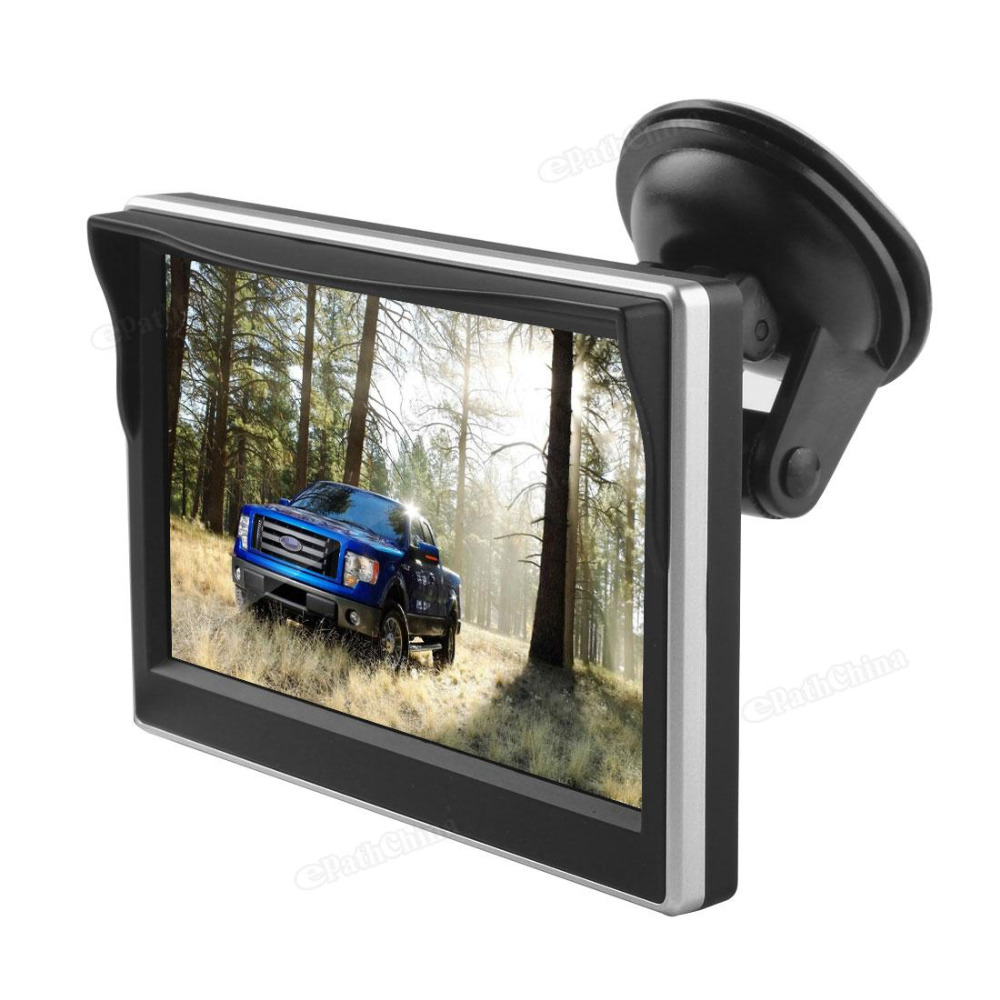 5 Inch TFT LCD Screen Car Monitor 234x480 HD Car Rear View Reverse Parking Monitor with 2 Video Input Support VCD DVD GPS Camera