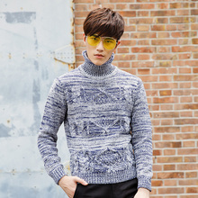 2017 Autumn Winter men Sweaters and Pollovers Long Sleeve Turtleneck Casual Sweater Knitted Male Sweater XN052