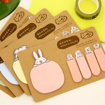 Cute rabbit DIY creative self-adhesive decoration notes convenient sticky paper scrapbook Korean office stationery Student gifts Memo Pads