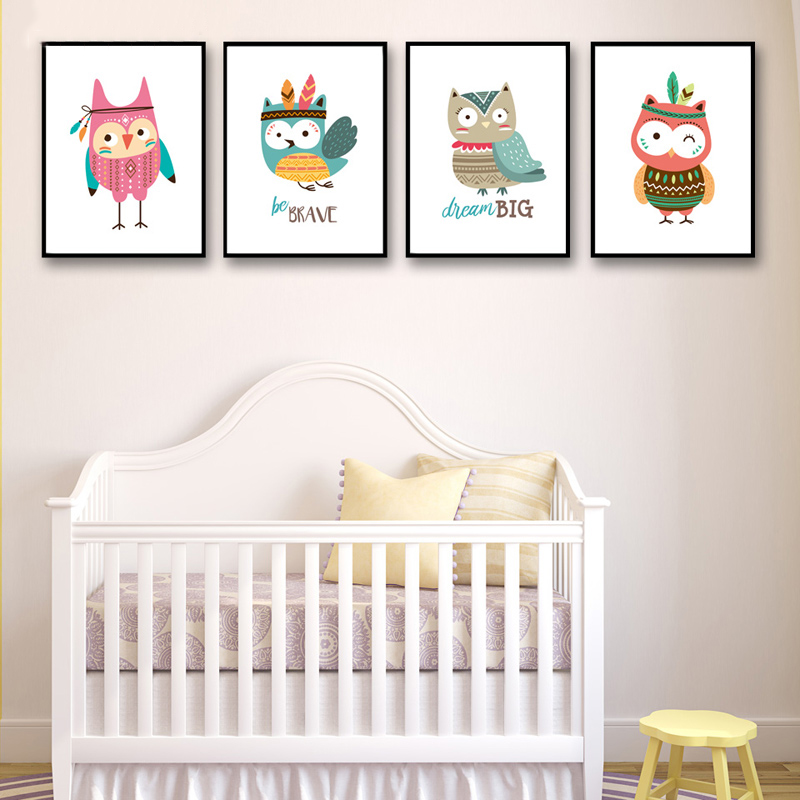 Nursery Room Wall Modern Animals Owl Canvas Pictures Art Posters A4 Prints Nordic Style Paintings