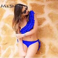 Ms. shang เซ็กซี่หนึ่งไหล่ชุดว่ายน้ำผู้หญิง 2019 บิกินี่ Push Up ชุดว่ายน้ำผู้หญิง Ruffle ชุดว่ายน้ำบราซิลชุดบิกินี่ XL