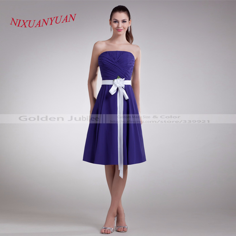 NIXUANYUAN 2017 Elegant Pleat Party Gown Belt With Flowers Chiffon   Cocktail     Dress   2017 A Line vestidos de   cocktail   2017