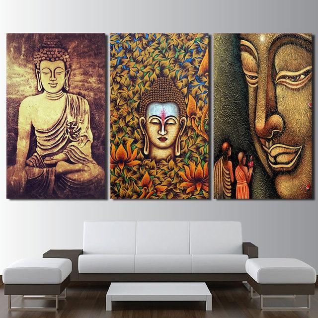 hd gedruckt poster wandkunst rahmen leinwand buddha statue bilder 3 st ck farbe abstrakte. Black Bedroom Furniture Sets. Home Design Ideas