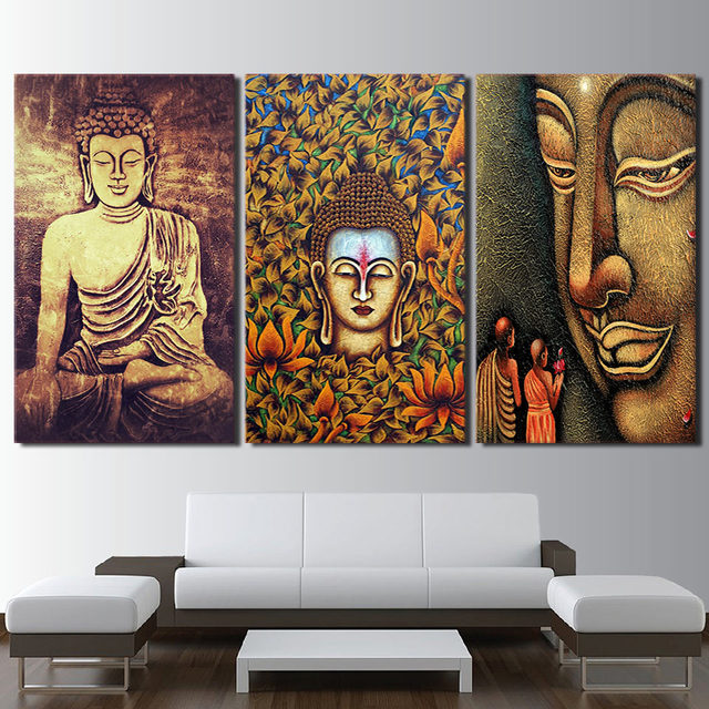 HD Printed Poster Wall Art Frame Canvas Buddha Statue Pictures 3 Piece  Color Abstract Buddha Painting